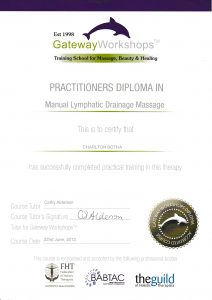 Charlton Botha certificate of qualification from 2012 in MLD manual lymphatic drainage massage