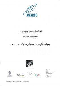 Certificate of Karen Botha the qualified reflexologist at Essential Feeling in Romford